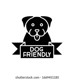 Dog friendly area black glyph icon. Puppy permitted zone. Domestic animals allowed territory, grooming, pets welcome institution sign. Silhouette symbol on white space. Vector isolated illustration