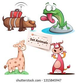 Dog, frog, giraffe cow - set animals Vector eps 10