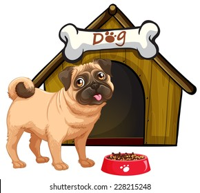 Dog in front of his home with a bowl of food