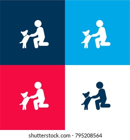 Dog in front of a man four color material and minimal icon logo set in red and blue