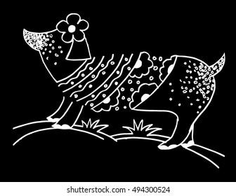 dog funny black and white. Decorative style