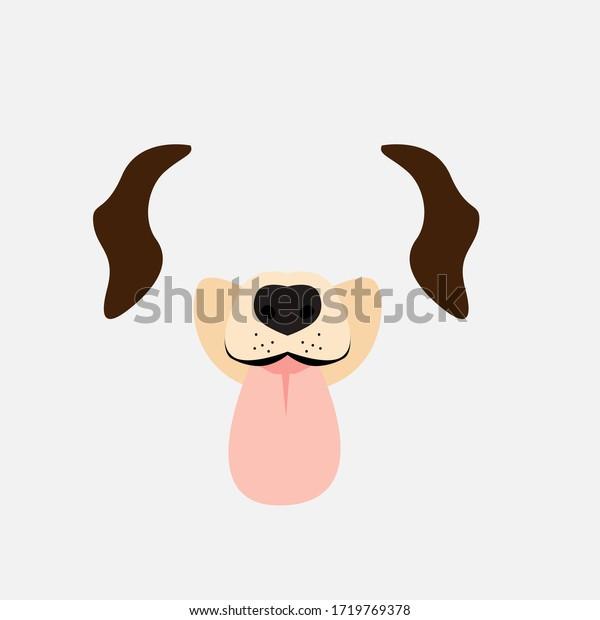 dog funny mask for kids party, vector design illustration