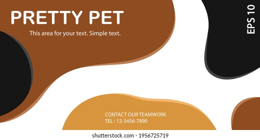 Dog fur color concept background with black brown and white, banner area space for text. Designed texture and modern colorful wallpaper.