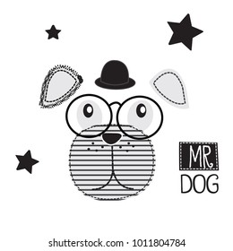 dog with glasses vector illustration