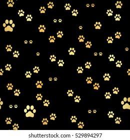 Dog Gold paw prints. Seamless pattern of animal gold footprints.