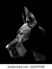 dog, Great Dane, fashion print, polygonal graphics, black, low poly portrait