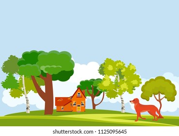 Dog, green valley, trees, house, countryside, natural landscape vector