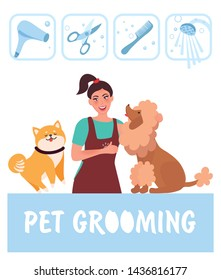 Dog groomer professional takes care of the dog. Hygienic care and cleaning of the dog