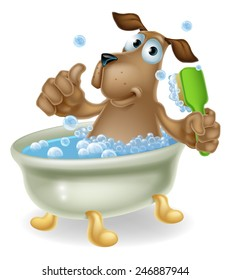 Dog grooming concept of cartoon dog character having a bath doing a thumbs up and scrubbing his back