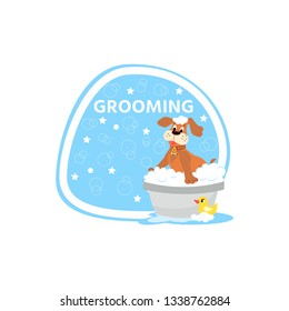 Dog grooming concept.  Cartoon cute dog character  a soapy bath with rubber duck. Pet wash icon, logo design.