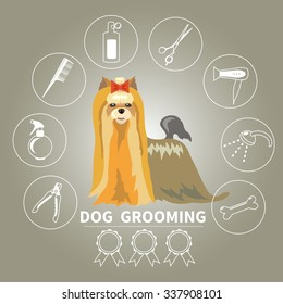 Dog grooming icons vector set. Tools used in beauty salon for animals.
