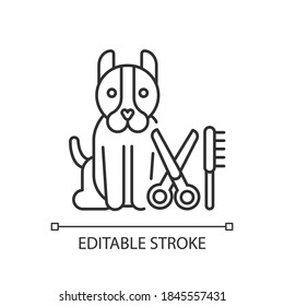 Dog grooming linear icon. Pet hair cutting, animal beauty treatment thin line customizable illustration. Contour symbol. Professional groomer service. Vector isolated outline drawing. Editable stroke