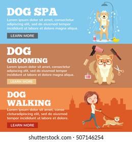 Dog grooming. Dog service. Vector flat cartoon illustration banners set