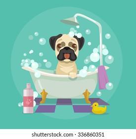Dog grooming. Vector flat illustration
