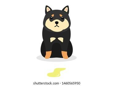 dog had accident cartoon illustration