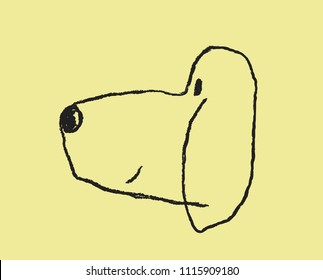 dog hand draw simple cute on yellow background