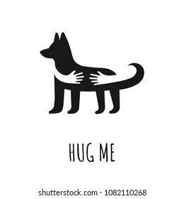 Dog with hand embrace. Love, preserve dogs concept, vector illustration.