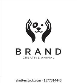 Dog Hand Logo Stock Illustrations . Dog care Logo . Pet care logo icon symbols