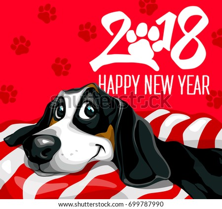 dog happy new year 2018 happy funny puppy