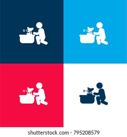 Dog having a bubbles bath four color material and minimal icon logo set in red and blue