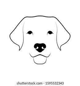 Dog head front view. Black linear sketch on white background. Vector illustration