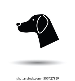 Dog head icon. Black background with white. Vector illustration.