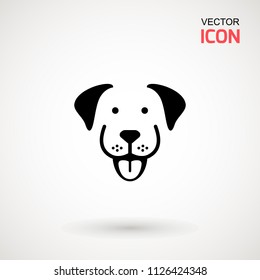 Dog head icon. Flat style. Cartoon dog face. Vector illustration isolated on white. Silhouette simple. Animal Logotype concept. Logo design template.