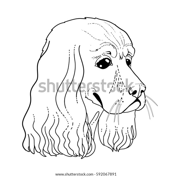 Dog Head Line Draw Coloring Book Stock Vector (Royalty Free