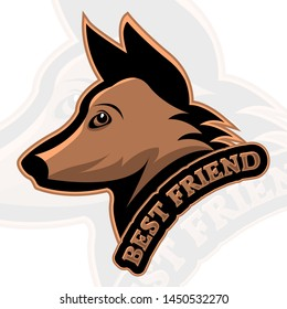 Dog head in logo design with a short quote, saying best friend