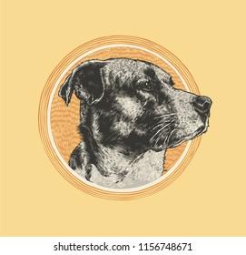 Dog Head Logo Emblem. Hand Drawn, Vector illustration.