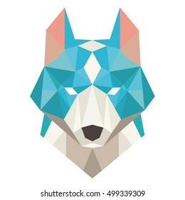 dog head symbol. Isolated wolf head - vector illustration. Wolf head tribal emblem illustration for your design