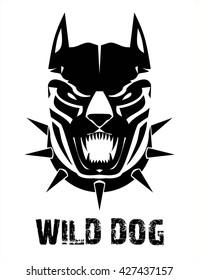 Dog head. Wild dog. Black wild dog. Pitbull. Doberman. Bulldog.