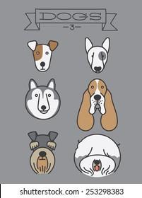 Dog heads. Isolated, Jack Russell Terrier, Bull Terrier, Siberian Husky, Basset Hound, Schnauzer, Old English Sheepdog