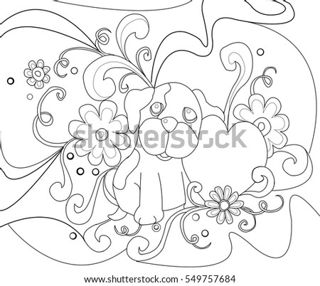 Dog With Heart Flowers Line Drawing For Coloring Pages