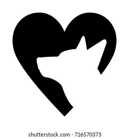 Dog with heart icon. Favorite pet. Adopt animal. Emblem for veterinary clinic, feed
