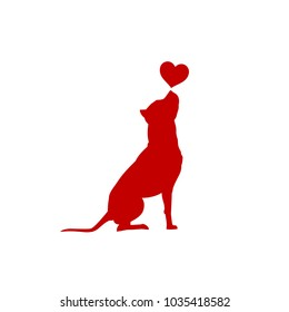 Dog with heart vector illustration American Pit Bull Terrier silhouette