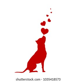 Dog with hearts vector illustration American Pit Bull Terrier silhouette