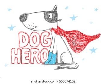 dog hero. Dog vector illustration, with Superhero vector cartoon illustration
