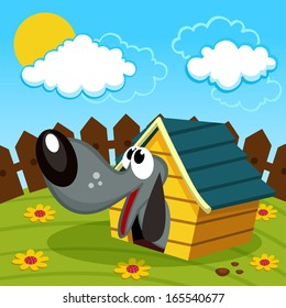 dog in the home -  vector illustration