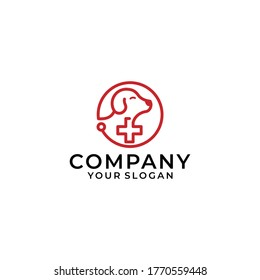 Dog Hospital Vector Logo Template. Vector logo for veterinary clinic, logo for a pet shop, a large red cross with silhouettes of animals, logo for veterinary services.