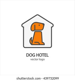 Dog hotel logo vector  template in outline thin style for pet shop, pet hotel, club or vet clinic design. Editable design element for your company. Modern easy to edit logo template.