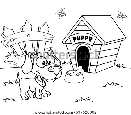 Aninimal Book: Dog House Black White Illustration Coloring Stock Vector ...