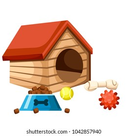 Dog house and bowl with food. Playing balls and bone. Vector illustration isolated on white background. Web site page and mobile app design