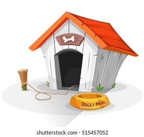 Dog House/ Illustration of a cartoon funny doghouse with dish for dog meal, and stake with leash attached