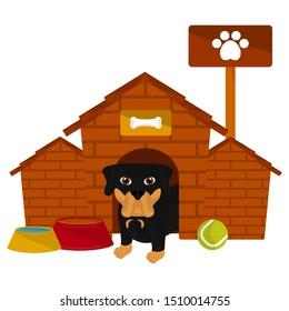 Dog house with a rottweiler cartoon- Vector