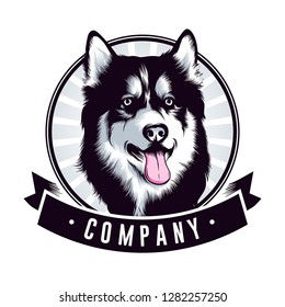 dog, huskey head Logo Designs