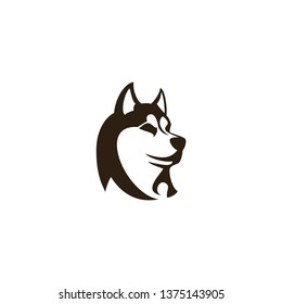dog husky head vector on a white background