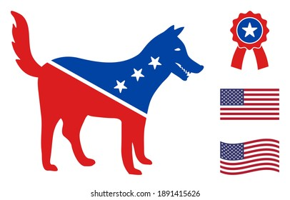 Dog icon in blue and red colors with stars. Dog illustration style uses American official colors of Democratic and Republican political parties, and star shapes. Simple dog vector sign,