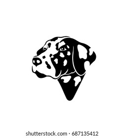 Dog icon, dalmation, breed, pet, love, buy and sell, shop, habitat, vector illustration
