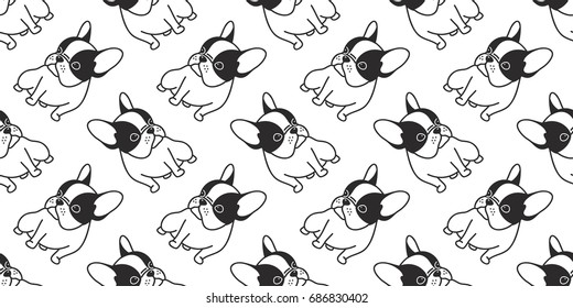 Dog icon french bulldog illustration vector seamless pattern background wallpaper